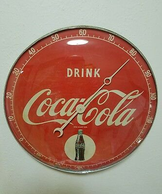 C. 50's DRINK COCA COLA  BULLSEYE advertising thermometer sign soda gas station