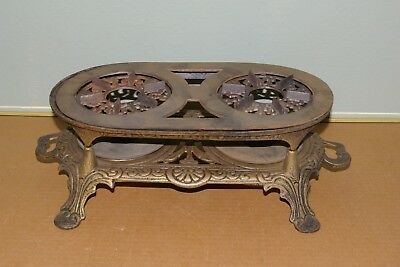 "Antique 2 Burner Cast Iron Portable Cook Stove ""KIT"" Nice Condition"
