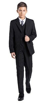 Black Shiny Penny Boys Formal 5 Piece Suit Set with Shirt & Vest