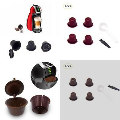 4pcs Refillable Reusable Coffee Capsule Cup Filter Pod Spoon Brush For Nespresso