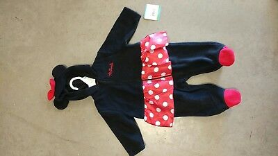 Minnie Mouse Hooded Pajama One piece Costume 3-6 months