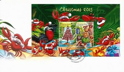 2015 Christmas Island - Christmas Mini Sheet First Day Cover FDI