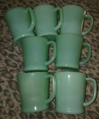 """Set of 7 Vintage Fire King Green Jadeite Oven Ware Coffee Mugs Cups """"D"""" Handles"""