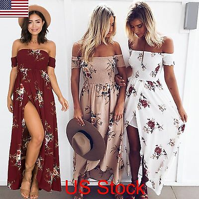 Plus Size Womens Evening Cocktail Party Dress Boho Beach Holiday Long Maxi Dress