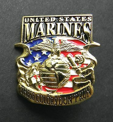 Marine Corps Usmc Marines These Colors Don't Run Lapel Pin Badge 1.1 Inches