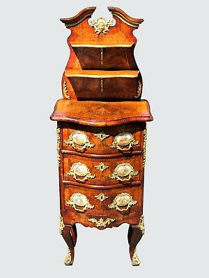 19Th C French Antique Louis Xvi Style 3 Drawer Nightstand