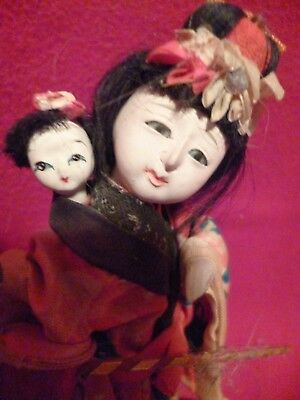 RARE BABY SITTER JAPANESE DOLL with CHILD ON HER BACK & TOY IN HER HAND GOFUN