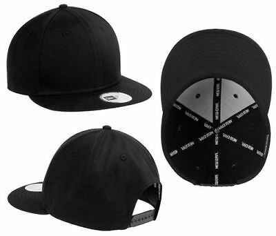 New Era 9FIFTY Black Snapback Hat Blank Flat Bill 9 FIFTY NEW SnapBack 038a6f27b2e7
