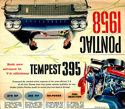 1958 Pontiac Fold Out Brochure-Featuring The Tempest 395 V-8 With Fuel Injection