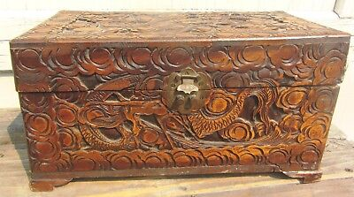 Exceptional Deep Relief Antique Chinese Camphor Wood Carved Chest Box w/ Dragons