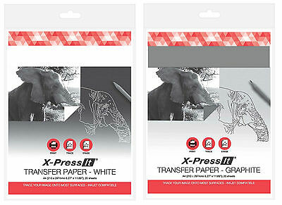 X-Press It Transfer Paper A4, Pack of 20 Sheets, Available in Graphite and White