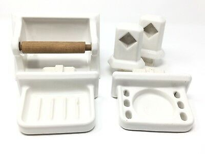 Vintage White Porcelain Bathroom Fixture Set For Tile Retro Reclaimed Salvage