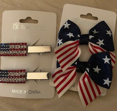 PATRIOTIC HAIR CLIPS , pinch stlye alligator clips
