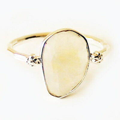 Faceted Semi-Precious Natural Stone Silver Statement Ring - Moonstone Size 9