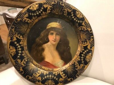 Vienna Art Plate -1905 Victorian Woman - Very nice condition Blue and Gold trim