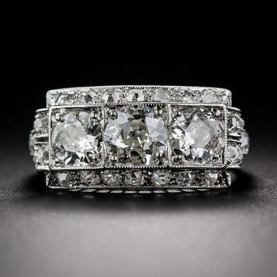 Vintage Art Deco Silver Plated White Sapphire Birthstone Antique Bride Ring