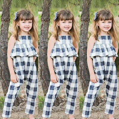 US Kids Girls Ruffle Plaid Rompers Jumpsuits Bodysuit Outfits Clothes Sz 2-8T