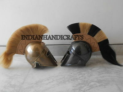 SET OF 2 MEDIEVAL ANCIENT GREEK HELMET bRASS &Black FINISH REENACTMENT ITEM