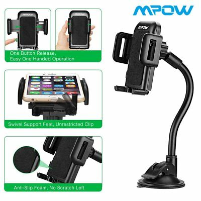 Mpow Universal Long Arm Windshield Dashboard Car Mount Holder for iPhone X/8/8P