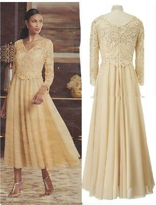 Stunning Gold Mother of the Bride Dress in sizes 6, 8, 10, 12, 14, and 16