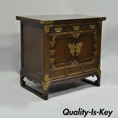 Vintage Korean Cabinet Asian Oriental Chest Table with Brass Butterfly Hardware