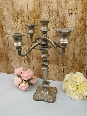Vintage Very Heavy Silver Plated 5 Sconce candelabra that is also a single stick