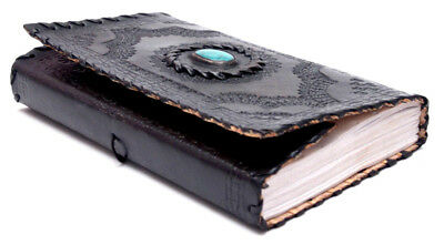 Handmade Black Leather Diary Turquoise Stone Leather Journal Christmas Gift 9x5