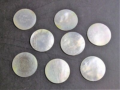 ANTIQUE CHINESE MOTHER OF PEARL ROUND FIGURES GAMING TOKENS COUNTERS C19th (6)