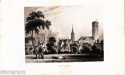 Malines Mechlin 1850 guide 3 p. + 3 gravures Cathedral Brussels Gate Vue Malines