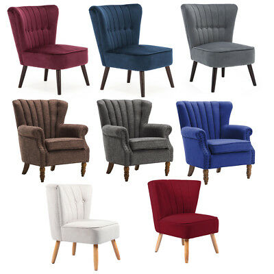 Occasional Linen Tub Chair Armchair Bedroom Living Room Office Lounge Reception