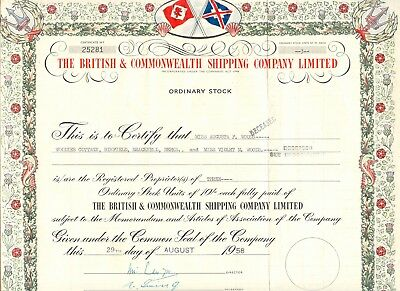 UNITED KINGDOM 1958 THE BRITISH & COMMONWEALTH SHIPPING COMPANY Ltd., Zertifikat