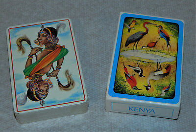 2 Packs Vintage 1970's Kenya African Tribes African Birds Playing Cards Deck