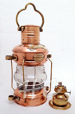 "Nautical Maritime 14"" Ship Lantern..Brass & Copper Anchor Oil Lamp Leeds Burton"