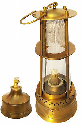 "Oil Kerosene Lamp Vintage 12"" Minor Brass Miners Mining Marine Ship Lantern Item"
