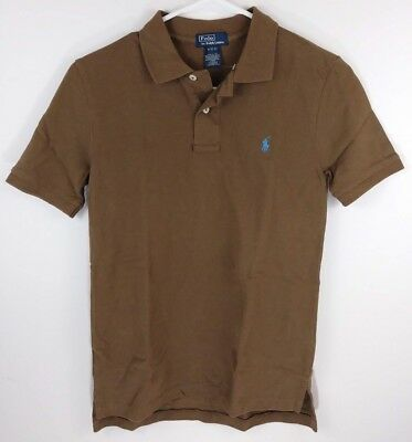 Nwot Boys M 10-12 Ralph Lauren Polo Short Sleeve Cotton Brown Polo Shirt