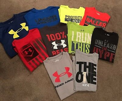 HUGE LOT(10) Boys Under Armour YM Heat Gear Shirts