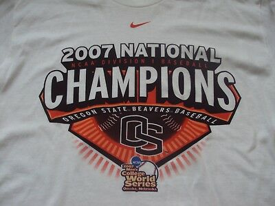 on sale ebd26 feb75 Oregon State Beavers Baseball Nike 2007 Ncaa Division 1 Champions World  Series T