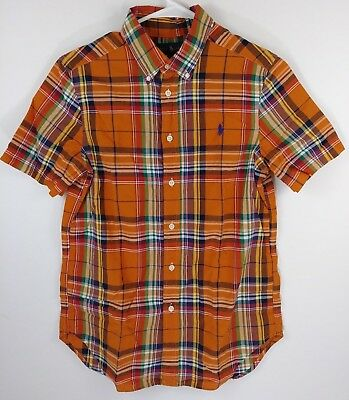 Polo Ralph Lauren Boys Size L(14-16) Orange Plaid Button Down Short Sleeve Shirt