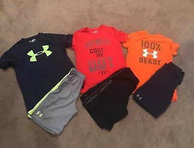 HUGE LOT (6) Under Armour YM Boys Shirts And Shorts