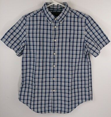 Polo Ralph Lauren Boys Size L(14-16) Blue Plaid Button Down Short Sleeve Shirt