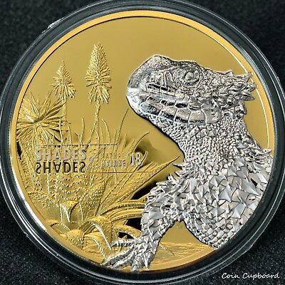 "2018 Cook Islands $5  Sungazer Lizard .999 silver coin, ""Shades of Nature series"