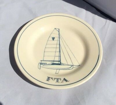 RYE IDEN POTTERY H/PAINTED YACHT PLATE F.T.A.signed & Limited No 6/98