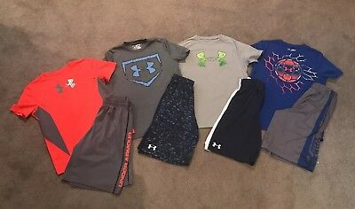 HUGE LOT (8) YM Boys Under Armour Heat Gear Shirts And Shorts