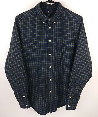 Ralph Lauren Boy XL 18-20 Green/Blue/Black PLAID Button-Down Shirt POLO PONY L/S
