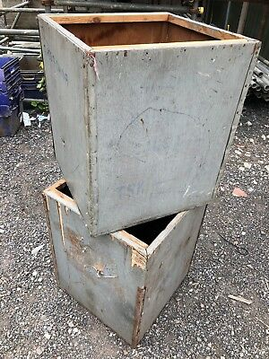 2 X Vintage Wooden Tea Chest Trunks Storage Boxes Crates Display Shabby Chic