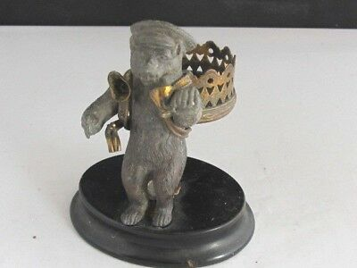 Anthropomorphic Novelty Bear Antique Austrian Spelter Figure On Base Unusual