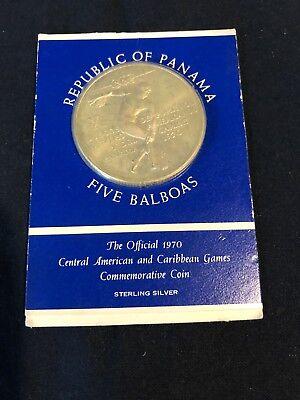 1970 Republic of Panama Silver Five Balboas Caribbean Games Commemorative Coin