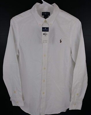 Ralph Lauren Boy  L 14-16 White Long Sleeve Solid Button-Down Shirt POLO NWT