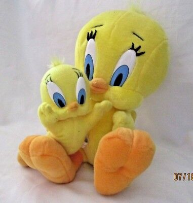 "Tweety Bird Plush 1997 Looney Tunes Toy Play-By-Play 10""  & 7"" lot of 2 ✞"