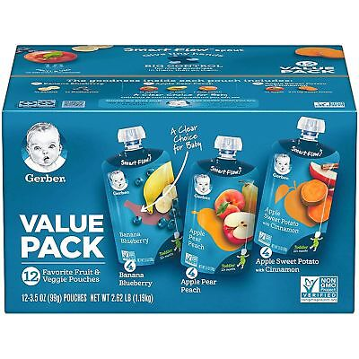 Gerber Baby Toddler Food Pouch Variety Pack (3.5 oz., 12 ct.) NEW/ FREE SHIPPING